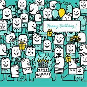 vector hand drawn characters line - birthday theme - celebration