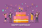Happy birthday concept banner. Flat style vector illustration.