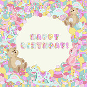 Happy Birthday typographic vector pastel cartoon doodles baby toy design for greeting cards, invitations