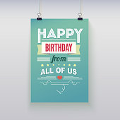 Happy Birthday, typography, vintage poster, grunge. Vector illustration