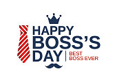 Happy Boss Day white poster, banner or background with red striped tie. Vector illustration. EPS10