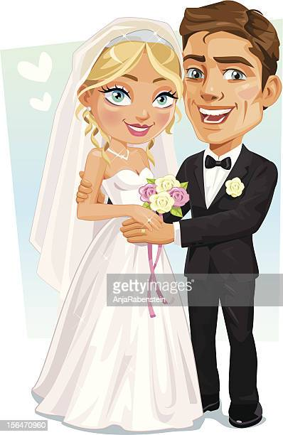 Happy Bridal Couple - Bride And Groom smiling holding hands