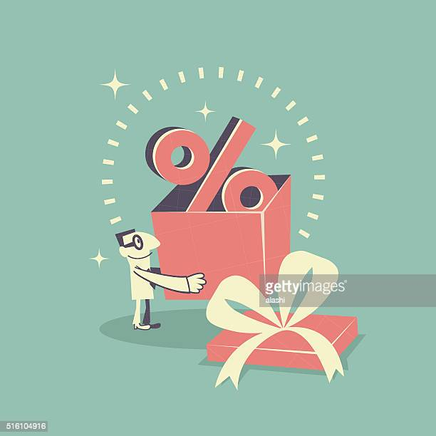 Happy businessman carrying (holding) gift box with Percent symbol (sign)