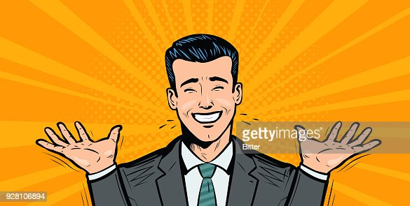 Happy businessman or student rejoices at success. Business concept. Cartoon in pop art retro comic style, vector illustration : stock vector