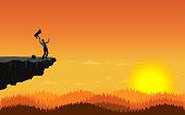 Happy businessman standing on cliff. Illustration vector flat