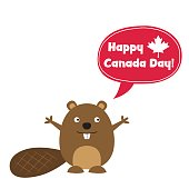 Happy Canada Day card with a cute cartoon beaver