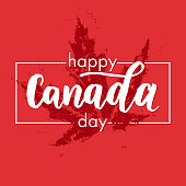 Happy Canada Day vector illustration greeting card. Canadian flag poster with hand drawn calligraphy lettering. Real red maple leaf imprint on white background wallpaper.