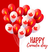 Happy Canada day. Happy Independence day. 1st July. Vector illustration with Canada flag background. Patriotic Design. Background in National Colors of the Canada. Vector card for Canada Day