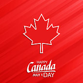 Happy Canada Day, july 1 national holiday celebrate card with maple leaf symbol and hand lettering. Vector illustration.