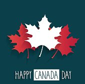 Happy Canada Day poster on blue background with handwritten text. Vector illustration. All elements are separate. Easily modifying. No mesh. EPS10