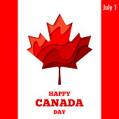 Happy Canada Day vector holiday poster with red paper cut canada maple leaf. 1th of July celebration Canada flag background