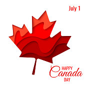 Happy Canada Day vector holiday poster with red paper cut canada maple leaf. 1th of July celebration background