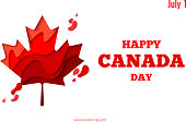 Happy Canada Day vector holiday background with red paper cut canada maple leaf. 1th of July celebration paper craft banner