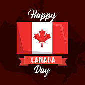 happy canada day flag on map geographic vector illustration