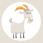 Happy cartoon goat. Vector clip art illustration with simple gradients