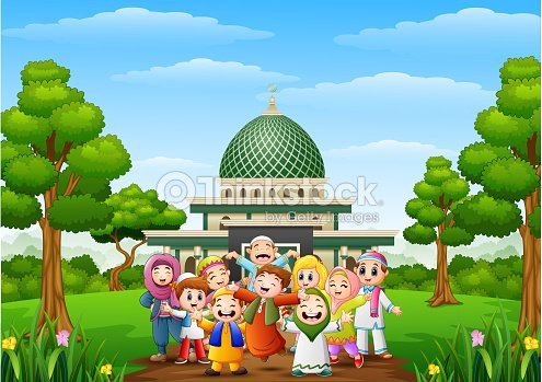 Happy Cartoon Kids Celebrate Eid Mubarak With Islamic Mosque In The Forest Vector Art