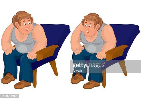 Heureux En Dessin Anime Homme Assis Dans Les Fauteuil Bleu Et De