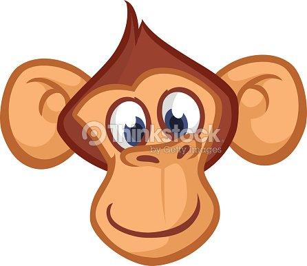 T te de singe heureux cartoon ic ne de vecteur de - Dessin de babouin ...