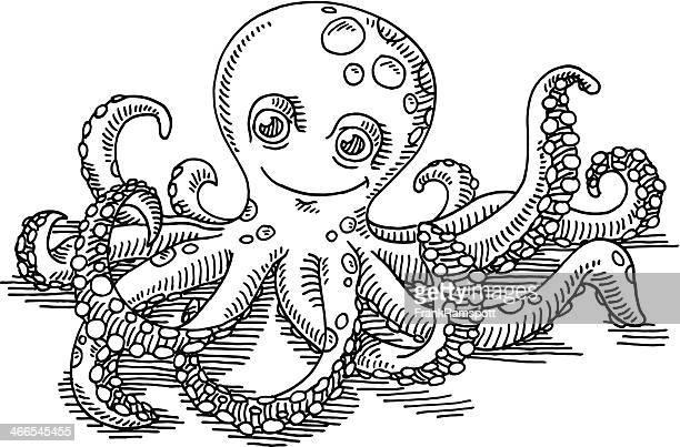 Happy Cartoon Octopus Drawing