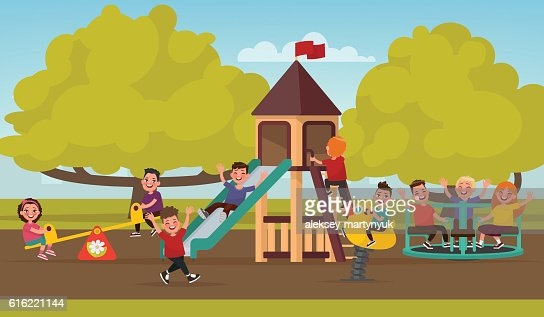 Happy childhood. Children on the playground swinging on a swing : Arte vettoriale