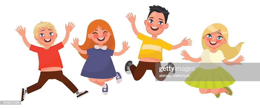 Happy childhood. Funny kids are jumping on a white background. : Arte vettoriale