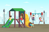 Happy childhood. Kids playing on playground. Area at public park. Kindergarten and preschool area with swing. Vector illustration