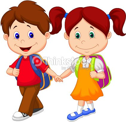 happy children cartoon come with backpacks vector art - Toddler Cartoon Characters