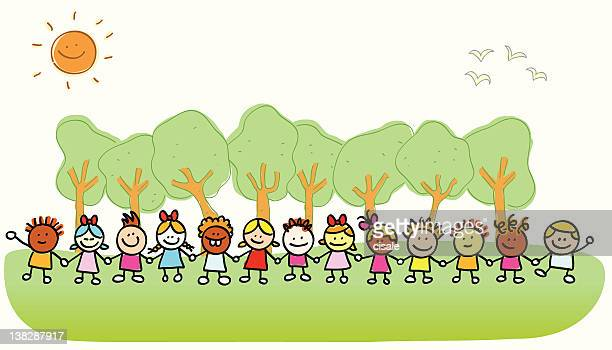 happy children holding hands,  playing outside spring,summer nature cartoon
