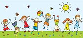 Happy children in a meadow, vector illustration. Game with ball. Gambol.