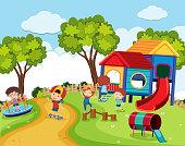 Happy children in playground at daytime illustration