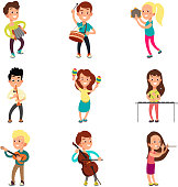Happy children musicians with musical instruments. Talented kids playing music, singing and dancing cartoon vector characters set. Musical kids talent, young performance playing illustration