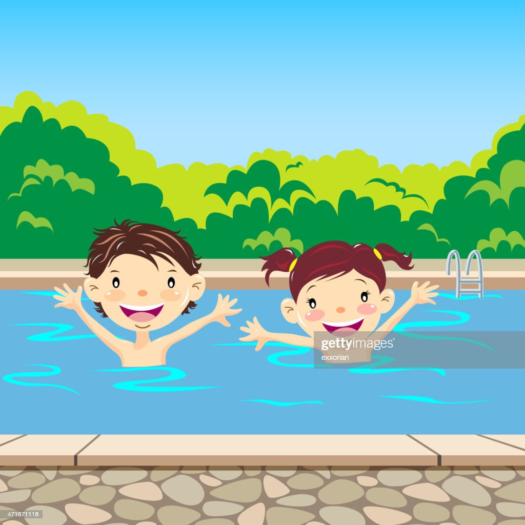 Happy Children Swimming In The Pool Vector Art Getty Images