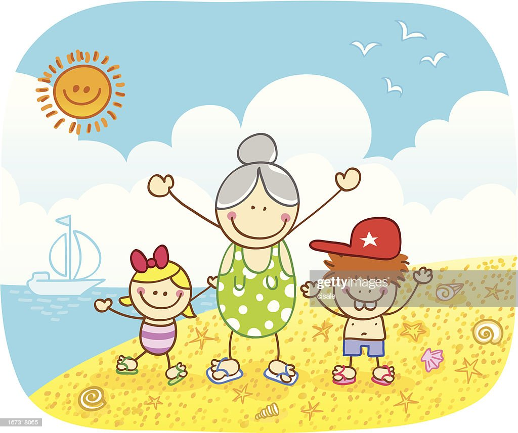 happy children with grandma at beach cartoon illustration in summer : Vector Art