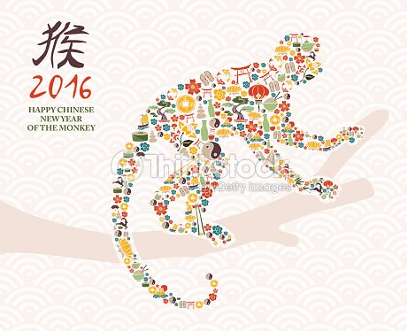 happy chinese new year 2016 monkey icons card vector art thinkstock