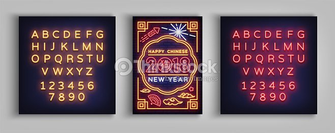 Happy Chinese New Year 2018plakat In Einem Neonstil ...