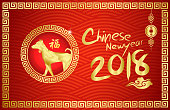 Happy Chinese New year 2018 with Chinese Symbol Calligraphy FU Text Symbol Good Fortune Prosperity, cloud wallpaper and any Element style/Year of the dog