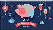 Happy Chinese new year 2019, the year of pig. Vector banner, background