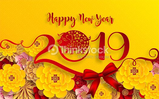 happy chinese new year 2019 zodiac sign with gold paper cut art and craft style on