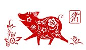 Happy chinese new year 2019.  Zodiac sign year of the pig.  Traditional art and style. Isolated. Vector
