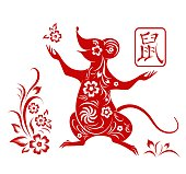 Happy Chinese new year 2020.  Zodiac sign year of Rat,red paper cut rat. Traditional art and style. Isolated. Vector