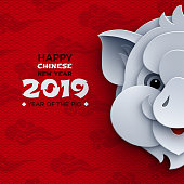 Happy chinese new year banner, paper head of the pig, animal symbol of 2019. Pattern red clouds, oriental background for poster, greeting card, flyer design. Paper cut out style, vector illustration