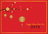 Happy chinese new year design with hanging golden lanterns and flowers