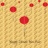 Happy Chinese new year design with hanging red lanterns on gold background. Vector illustration.