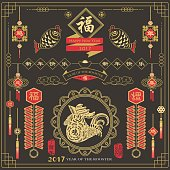 "Happy Chinese Rooster Year of 2017: Calligraphy translation 'Happy new year', ""Blessing"" and 'Rooster year'. Red Stamp with Vintage Rooster Calligraphy."