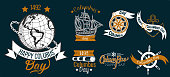 Happy Columbus Day logo sign flat set. Collection consist of emblems with lettering inscription anchor globe sailor and ship symbols vector illustration. Isolated on black