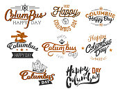Happy Columbus Day logo sign flat set. Collection consist of emblems with lettering inscription anchor globe sailor and ship symbols vector illustration. Isolated on white