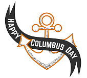 Happy Columbus Day logo sign with anchor symbol. United States national holiday emblem with armature festive ribbon and inscription on it vector illustration. Isolated on white