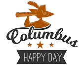 Happy Columbus Day logo sign with sailor. Emblem with lettering inscription and silhouette of seaman with spyglass for invitation or greeting cards vector illustration. Isolated on white