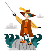 Happy Columbus Day poster spanish sailor with sword. United States national holiday greeting or invitation card with Columb and steel vector illustration. Isolated on white