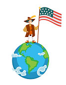 Happy Columbus Day poster with Columb on globe with flag. Greeting or invitation card with great spanish sailor standing on symbol of earth and holding USA Stars and Stripes vector illustration